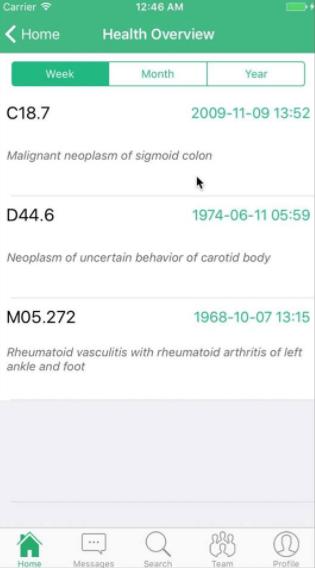 Medical history mobile app