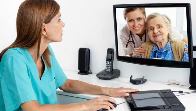 Telehealth conversation with nurse.