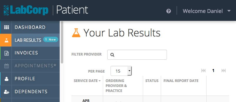 Labcorp lab results